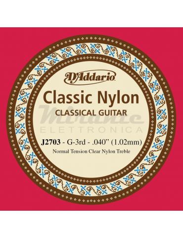 D'Addario J2703 Corda Singola Classica J27 Classic Nylon, 3th SOL Terza