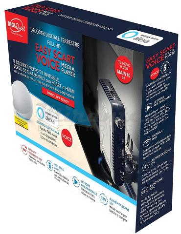 Digiquest Easy Scart VOICE HD Decoder Digitale Terrestre, Nero - funziona con Alexa
