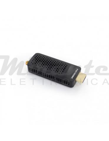 Metronic Decoder Stick DVB-T2 plug-in HDMI HEVC piccolo compatto, nero