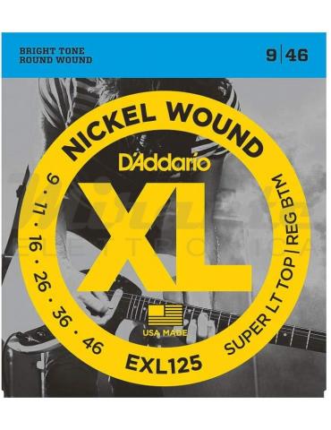 D'Addario EXL125 Corde in Nickel per Chitarra Elettrica, Super Light Top/Regular Bottom, 9-46,