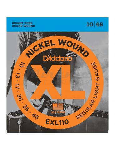 D'Addario EXL110 Set di Corde 10-46 in Nickel per Chitarra Elettrica, Regular Light