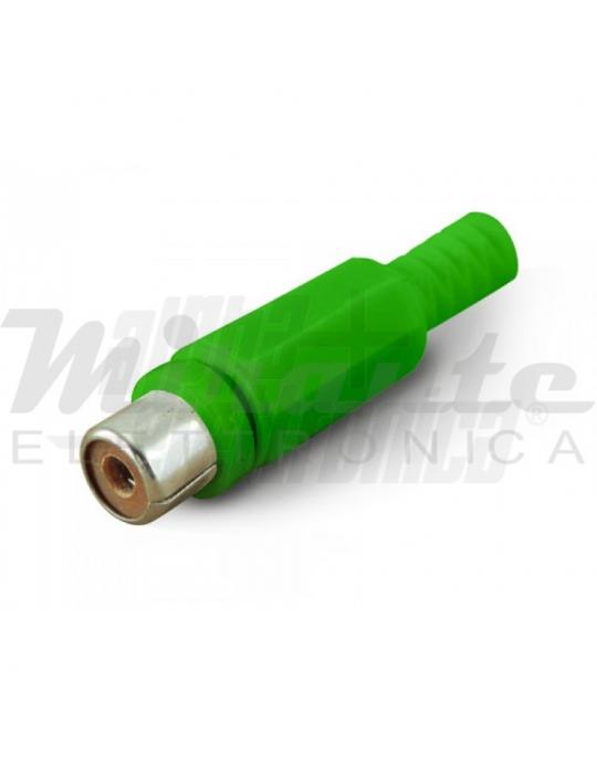 Presa RCA - Verde - Struttura in plastica - Guidacavo 6mm