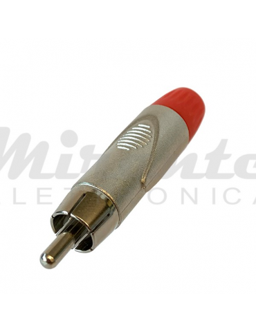 Spina RCA - Rosso - Versione in metallo Silver - Guidacavo 6mm