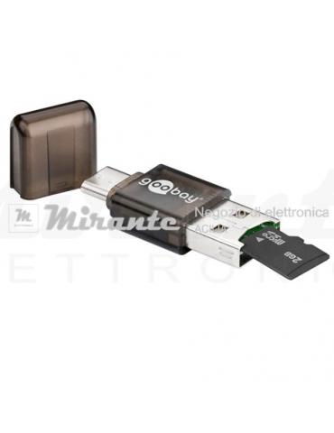 """Lettore memorie con attacco USB Type """"C"""" e USB"""